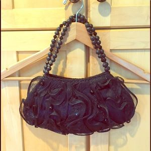 Vintage black tulle beaded evening PURSE